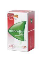 Nicorette 2 mg Gomme à mâcher médicamenteuse sans sucre fruits Plq/105 à BARCARÈS (LE)