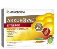 Arkoroyal Dynergie Ginseng Gelée royale Propolis Solution buvable 20 Ampoules/10ml à BARCARÈS (LE)