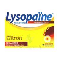 LysopaÏne Ambroxol 20 Mg Pastilles Maux De Gorge Sans Sucre Citron Plq/18 à BARCARÈS (LE)